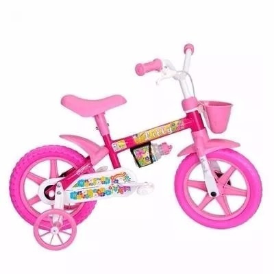 d5dc5f05e Bicicleta Infantil Cairu Aro 12 Lilly Feminina Menina Rosa - R  358 ...