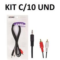 Cabo P2 X 2 Rca Áudio - Original Kit Com 10 Unidades