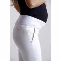 Calça Para Gestante Branca - Skinny Sarja