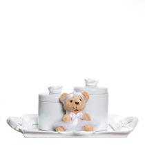 Kit Higiene Bandeja Espelho Resina 2 Porcelanas Ursinha Bebê