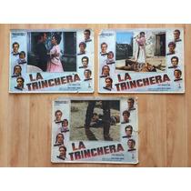 3 Lobby Cards Trinchera Tarso Reynoso Aleman Pellicer 1969 .