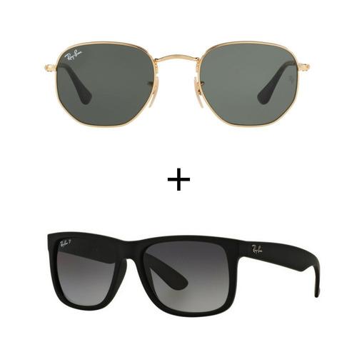 Kit Com 2 Ray-ban Oculos De Sol Masculino Feminino Promoçao - R  399 ... 078276f4d7