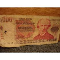 Billete Antiguo 5000 Cinco República Argentina Uno Solo