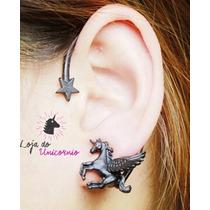 Brinco Ear Cuff Unicornio - Cor Preta - Pronta Entrega