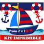 2x1 Kit Imprimible Nautico Marinero Candy Bar Tarjetas Y Mas