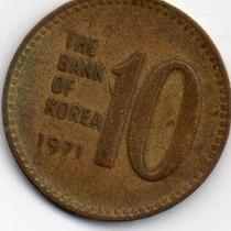 Moeda Coréia Do Sul 10 Won 1971 Lt 1880