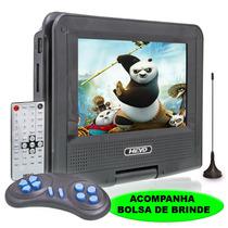 Dvd Portatil Tv 7 Tela Lcd Gira Sd Usb Fm Mp3 Jogos + Bolsa