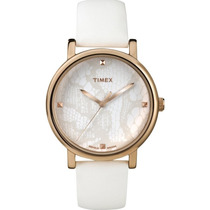 Reloj Timex Mod. T2p460 Blanco Con Dorado Para Dama