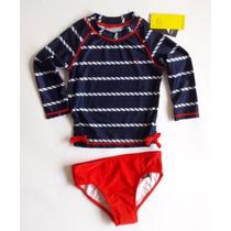 Vestido De Baño Nautica Para Niña (2 Piezas). 4 Años
