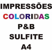 Impressão Colorida, P&b, Folha Sulfite A4