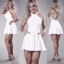 Vestido Feminino Branco Curto Diamante Juju Pronta Entrega