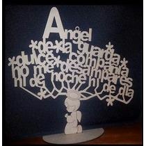 Cruces,centro De Mesa Mdf 3 Mm Oracion Angel De La Guarda