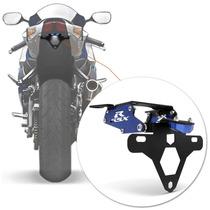 Suporte Placa Gxsr 750 Moto Rabeta Eliminado Articulado Azul