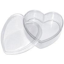 100 Caixinha De Acrílico Coração Transparente (lembrancinha)
