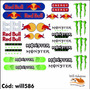 32 Adesivos Kit Para Bike E Moto Monster Red Bull Will586
