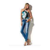 Calça Jeans Feminina Skinny Puídos E Brilho Morena Rosa