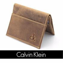 Carteira Masculina Pequena Calvin Klein Ck Couro Legitimo