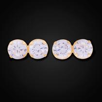 Brinco Zircônia Dupla 3mm Branca Em Ouro 18k - 750