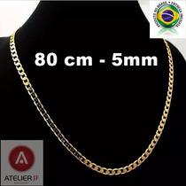 Corrente Cordão Grumet Quadrado 2 Banhos Ouro 18k, 80cm, 5mm