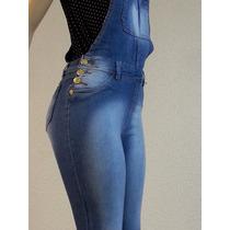 Macacão Jardineira Calça Jeans Feminino Azul Comprido Lycra