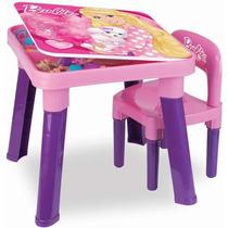 Mesa Com Cadeira Mesinha Infantil Barbie Rosa Fashion Fun