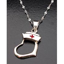 Cadena Dije Cofia Corazón Cruz Símbolo Enfermera Salud Plata