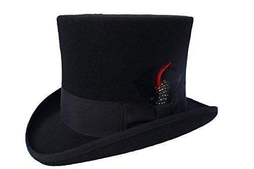 eab27b17095de Sombrero Negro Elegante Para Hombre - 100% Lana Grande -   2