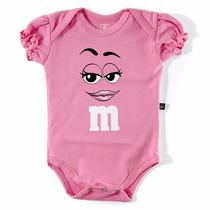 Roupas Bebê Body M&ms Pink Fantasia Fabricante Super Oferta