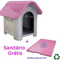 Casinha Plástico Desmontável Cachorro 3 Médio Porte Rosa