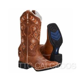 Bota Feminina Texana Country Bico Quadrado Cano Alto Couro - R  319 ... e882fd2d9bb
