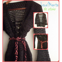 Kimono Tipo Saco Mangas Largas De Invierno Tejido Al Crochet