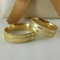 Alianca Casamento Cor De Ouro Grossa Par 8mm Moeda Antiga