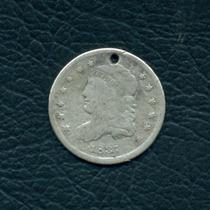 Moneda Ee.uu. 1837 5 Cents (perforada) Km#47 (plata)