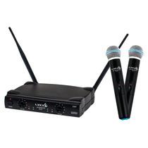 Microfone Sem Fio Duplo De Mão Uhf Lyco Uh02 Mm