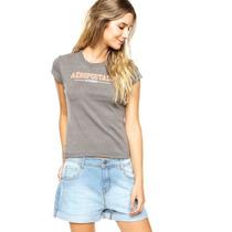 Aeropostale Linda Blusa Camiseta Cinza Mescla Tam. G