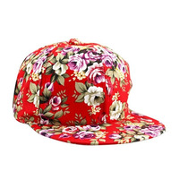 Gorra Snapback Floral Rojo Ajustable Unisex Flat Cap Hat