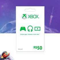 Cartão Microsoft Points Xbox Live Brasil De R$50 Digital