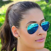 Oculos Rayban Aviador Original Azul Espelhado Feminino Masc