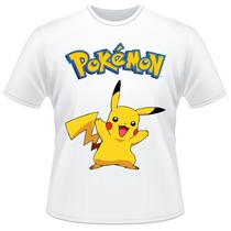 Camiseta Infantil Pokemon Pikachu Anime Desenho Camisa