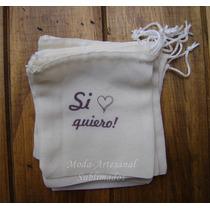 50 Bolsitas Tela Blanca Casamiento Personalizadas Souvenir