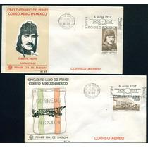 Mexico 1967 Primer Correo Aereo Sobres Fdc Con Timbres