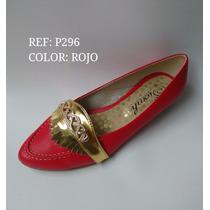 Baleta Moda Roja Con Dorado Zapatos Mujer Dama Envío Gratis