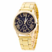 Relógio De Luxo Dourado Vansvar Importado Promoção Barato