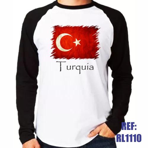 0f4472ddc3 Camisa Raglan Manga Longa Turquia País Bandeira Istambul - R  42