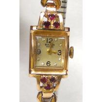 Reloj Bulova Vintage Para Dama Caja De Oro Rosa 14k