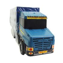 Caminhão Boiadeiro Azul De Madeira Infantil