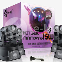 Kit 4 Mini Moving Head Spot Led 15w Cree Rgb + Interface Dmx