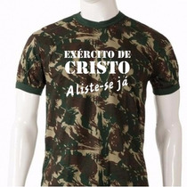 Camisa Camiseta Evangélica Camuflada Exército De Cristo
