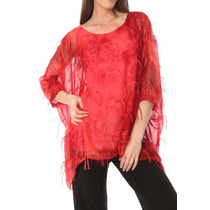 Túnica Blusón Blusa De La Mujer Vaporosa Lina Lee Gasa #7-s