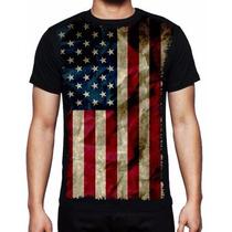 Camisa Masculina Bandeira Estados Unidos Malha Fria Eua Usa